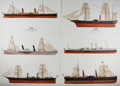 """Books:Prints & Leaves, Peter W. M. Griffin, artist. Lot of Six Color Lithograph Prints of19th Century Paddle Steamer Ships. 18.5"""" x 13.5"""". A bit o..."""