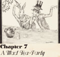 Mainstream Illustration, WILLY POGANY (Hungarian/American, 1882-1955). Alice'sAdventure's in Wonderland, A Mad Tea-Party, Chapter 7 chapterheadil...