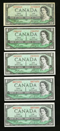Canadian Currency: , Beattie-Coyne $1 1954 Modified Portrait Notes.. ... (Total: 5notes)