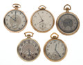 Timepieces:Pocket (post 1900), A Lot Of Five 12 Size Pocket Watch For Parts Or Repair. ... (Total:5 Item)