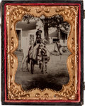 Photography:Tintypes, Superb Quarter Plate Tintype of a Mounted Nez Perce or Palouse Indian. ...