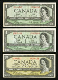 Canadian Currency: , BC-29a $1 1954 Devil's Face. BC-29b $1 1954 Devil's Face. BC-33b$20 1954 Devil's Face.. ... (Total: 3 notes)