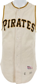 Baseball Collectibles:Uniforms, 1957 Johnny O'Brien Game Worn Pittsburgh Pirates Jersey....