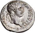 Ancients:Roman Imperial, Ancients: Tiberius, with Drusus Caesar (AD 14-37). AR drachm (19mm,3.76 gm, 12h). ...