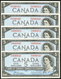 Canadian Currency: , BC-39b $5 1954 Modified Portrait Five Examples.. ... (Total: 5notes)