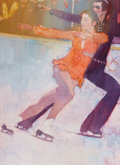 Mainstream Illustration, BERNARD FUCHS (American, 1932-2009). Figuring Skating Duo, U.S.Olympics. Oil and pencil on canvas. 34 x 25 in.. Signed ...