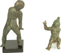 Ancients:Roman Imperial, Ancients: Roman (ca. AD 50-150). Two bronze figures of an athleteand Harpocrates.  ... (Total: 2 items)