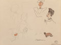 Paintings, LUDWIG BEMELMANS (American, 1898-1962). Madeline in London, preliminary sketch. Pen, watercolor, and pencil on paper. 17...