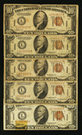Small Size:World War II Emergency Notes, Fr. 2303 $10 1934A Hawaii Federal Reserve Notes. Five Examples. Very Good or Better.. ... (Total: 5 notes)