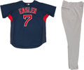 Baseball Collectibles:Uniforms, 2010 Mike Easler Game Worn Boston Red Sox Fantasy Camp Jersey andPants....