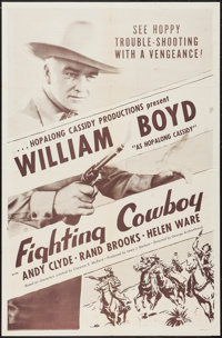 """Fighting Cowboy (Hopalong Cassidy Productions, R-1950s). One Sheet (27"""" X 41"""") & Lobby Card Set of 4 (..."""