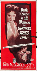 "Movie Posters:Mystery, Lightning Strikes Twice (Warner Brothers, 1951). Three Sheet (41"" X79""). Mystery.. ..."