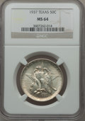 Commemorative Silver: , 1937 50C Texas MS64 NGC. NGC Census: (227/874). PCGS Population(434/1114). Mintage: 6,571. Numismedia Wsl. Price for probl...