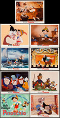 "Movie Posters:Animation, Pinocchio (Buena Vista, R-1971). Lobby Card Set of 9 (11"" X 14"").Animation.. ... (Total: 9 Items)"