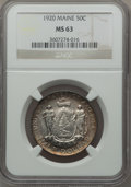 Commemorative Silver: , 1920 50C Maine MS63 NGC. NGC Census: (332/2295). PCGS Population(667/2615). Mintage: 50,028. Numismedia Wsl. Price for pro...