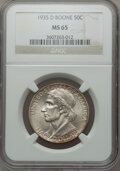 Commemorative Silver: , 1935-D 50C Boone MS65 NGC. NGC Census: (239/93). PCGS Population(327/98). Mintage: 5,005. Numismedia Wsl. Price for proble...