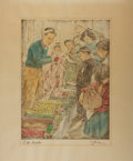 "Books:Prints & Leaves, Willy Seiler, artist. Original Signed Hand Colored Etching of aJapanese Cloth Merchant. 12.5"" x 15.25"" overall. Very good c..."