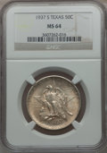 Commemorative Silver: , 1937-S 50C Texas MS64 NGC. NGC Census: (171/998). PCGS Population(361/1173). Mintage: 6,637. Numismedia Wsl. Price for pro...