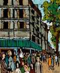 Fine Art - Painting, European, PHILLIPE MARCHAND (French, 20th Century). City Street Cornerwith Pedestrians. Oil on linen. 23-1/2 x 19-1/2 inches (59....