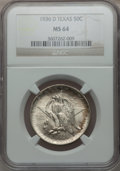 Commemorative Silver: , 1936-D 50C Texas MS64 NGC. NGC Census: (170/1388). PCGS Population(358/2003). Mintage: 9,039. Numismedia Wsl. Price for pr...
