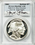 Modern Issues, 2001 $1 Buffalo Silver Dollar PR69 Deep Cameo PCGS. Ex: Signatureof Jay W. Johnson, 36th Director of the U.S. Mint. PCGS P...
