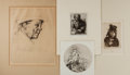 """Books:Prints & Leaves, [Engraved Prints] Lot of Four Fantastic Etched Portraits. Varioussizes from 6.25"""" x 6.25"""" to 10.5"""" x 11.5"""". Includes signed..."""