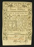 Colonial Notes:Rhode Island, Rhode Island May 1786 20s Very Fine.. ...