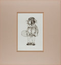 """Books:Prints & Leaves, Charles Bragg, caricaturist. Signed Limited Edition Print TennisPlayer. 13"""" x 15"""" overall. Matted. Number 81 of 250. Fine c..."""