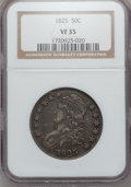 Bust Half Dollars: , 1825 50C VF35 NGC. NGC Census: (32/955). PCGS Population (70/1098).Mintage: 2,900,000. Numismedia Wsl. Price for problem f...
