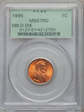 Lincoln Cents, (2)1995 1C Doubled Die Obverse MS67 Red PCGS. ... (Total: 2 coins)
