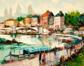 American, AMERICAN SCHOOL (20th Century). Cityscape with Figures along theRiver; View of the Eiffel Tower from Montmartre (pair)...