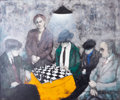 Fine Art - Painting, European, FRANCO MINEI (Italian, b. 1922). Chess Game, 1967. Oil oncanvas . 25-1/2 x 29-1/2 inches (64.8 x 74.9 cm). Signed and d...