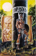 Original Comic Art:Covers, Mike Grell - Warlord #100 Cover Original Art (DC, 1985). Thisunchained image of Skartaris freedom fighter, Travis Morgan, g...