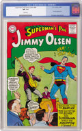 Silver Age (1956-1969):Superhero, Superman's Pal Jimmy Olsen #88 (DC, 1965) CGC NM 9.4 White pages. Bizarre/silly cover by Curt Swan has Superman dancing the ...