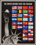 "Movie Posters:War, World War II ""The United Nations Fight for Freedom"" & Other Lot(U.S. Government Printing Office, 1942). World War II Propag...(Total: 2 Items)"