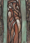 Post-War & Contemporary:Abstract Expressionism, BÉLA KÁDÁR (Hungarian, 1877-1955). Untitled (Figures). Oilon paper. 24 x 16-1/2 inches (61.0 x 41.9 cm). Signed lower r...