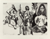 PABLO PICASSO (Spanish, 1881-1973) Homme frisé se balançant (from Séries 347), 1969 Aquatint with d...