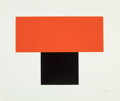 Fine Art - Work on Paper:Print, ELLSWORTH KELLY (American, b. 1923). Red Orange Over Black,1970. Silkscreen in colors. 25 x 30 inches (63.5 x 76.2 cm)...