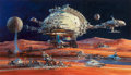Pulp, Pulp-like, Digests, and Paperback Art, JOHN CONRAD BERKEY (American, 1932-2008). Space Settlement, AMPCorporate commission, 1988. Casein and acrylic on board...