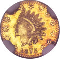 California Fractional Gold, 1875 50C Indian Round 50 Cents, BG-1036, Borderline R.8, MS64NGC....