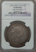 Early Dollars, 1798 $1 Large Eagle, Pointed 9 -- Obverse Damage -- NGC Details.VF. B-24, BB-124, R.2....