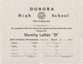 Baseball Collectibles:Others, 1939 Stan Musial High School Varsity Baseball & BasketballLetter Certificate....