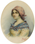 Fine Art - Painting, European:Antique  (Pre 1900), PROTTI (Italian Nineteenth Century). Portrait of a Lady with Blue Scarf. Watercolor on paper. 16 x 14 inches in oval fra...