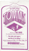 Music Memorabilia:Posters, Tommy Rock Opera Aquarius Theater Counter Stand-Up Display (1972).Pete Townsend's classic rock opera, in its first theatri... (Total:1 Item)