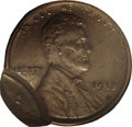 Errors, 1918 1C Lincoln Cent--Double Struck, 2nd Strike 85% Off Center--AU58 NGC....