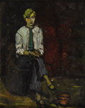Fine Art - Painting, European:Contemporary   (1950 to present)  , TWENTIETH CENTURY SCHOOL. Portrait of a Seated Lady. Oil oncardboard. 10 x 8 inches (25.4 x 20.3 cm). Unsigned. Inscrib...