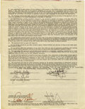 Music Memorabilia:Autographs and Signed Items, Trapeze Signed Contract. An agency contract dated October 20, 1971,between the Associated Booking Corp. and the British Roc... (Total:1 Item)