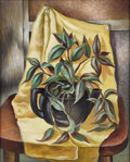 Texas:Early Texas Art - Regionalists, CHARLES BOWLING (1891-1995). Still Life with Yellow Drape,1943. Oil on masonite. 20 x 16 inches (50.8 x 40.6 cm). Signe...
