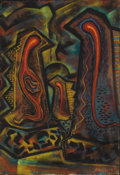 Texas:Early Texas Art - Modernists, J. J. MCVICKER (1911-2004). Embryonic Forms, 1948. Casein onpaper. 23 x 15-1/2 inches (58.4 x 39.4 cm). Signed and date...