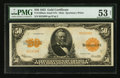 Large Size:Gold Certificates, Fr. 1200a $50 1922 Mule Gold Certificate PMG About Uncirculated 53 Net.. ...